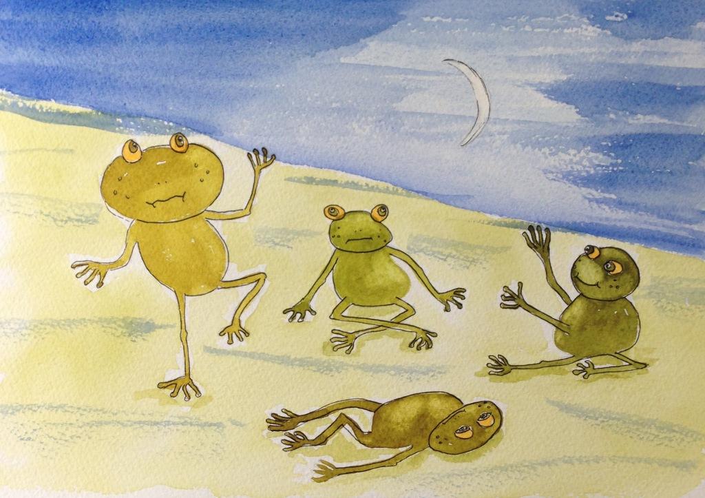 Watercolour frog moon