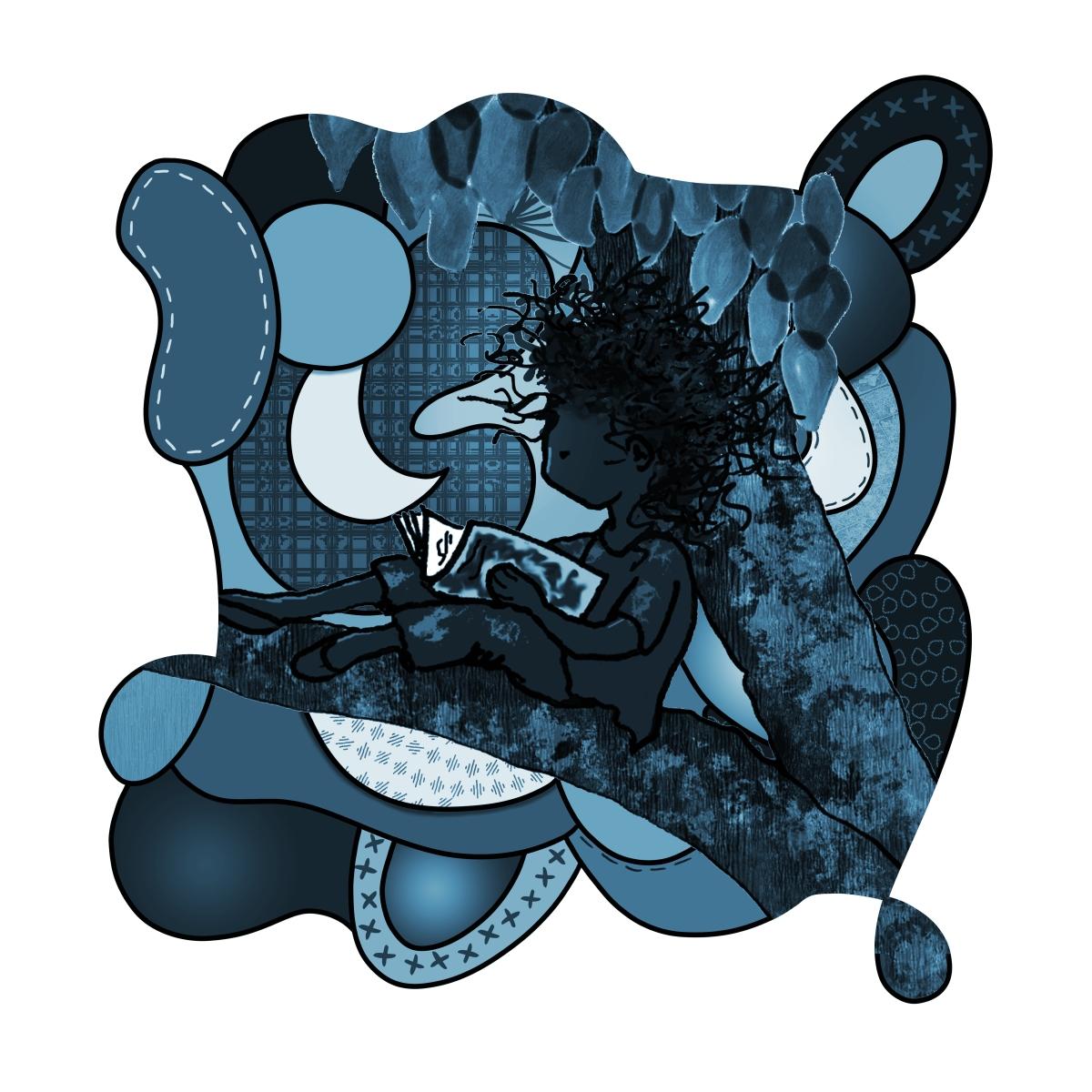 girl in tree monotone blue