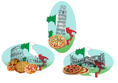 Pizzas Italy assembled