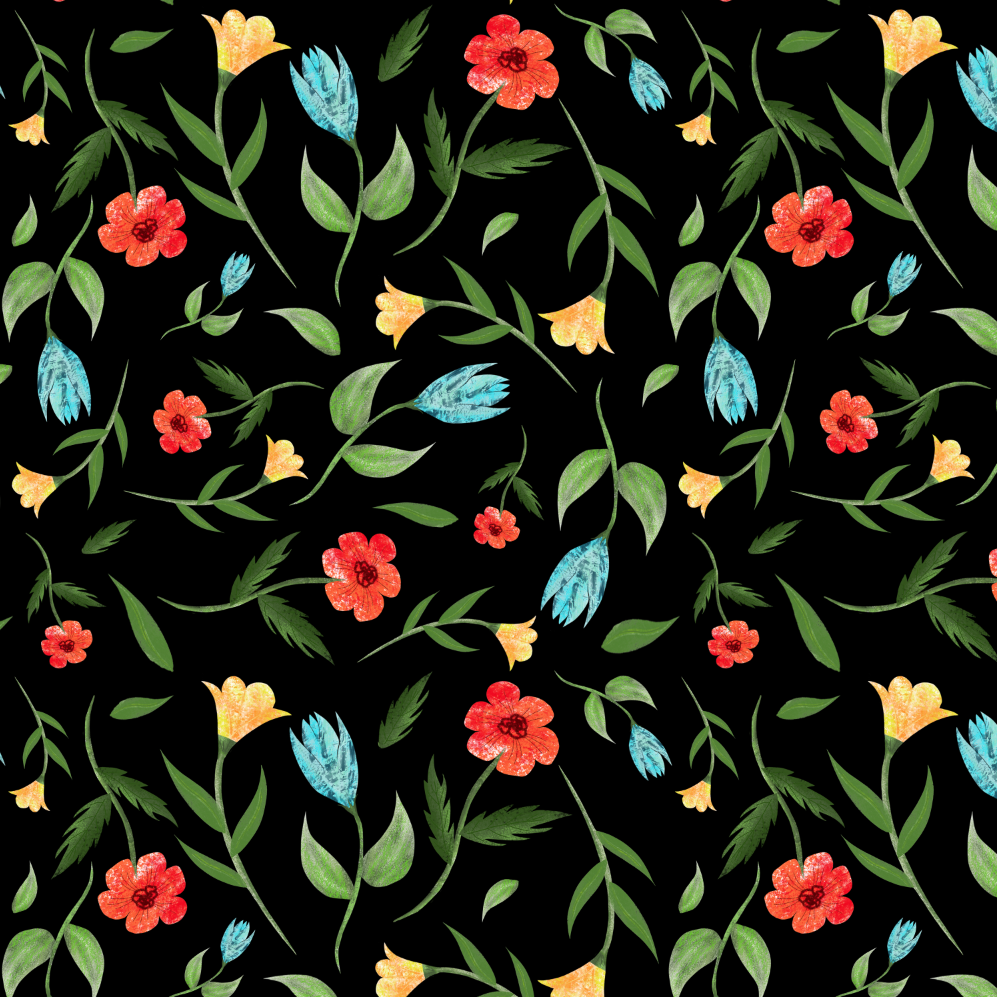 bright flowers repeat pattern screenshot