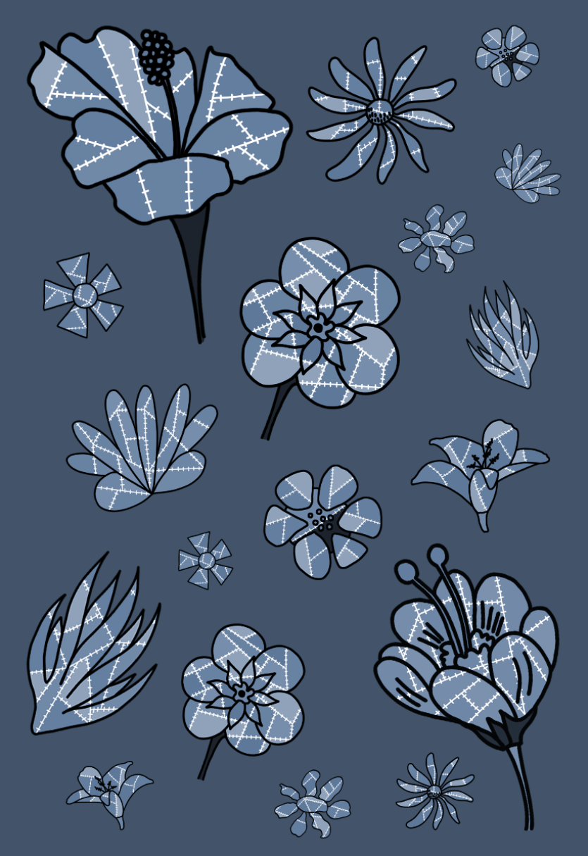 floral patchwork flowers mono