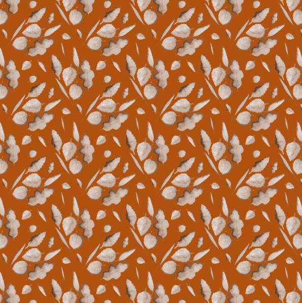 leaves colorised on burnt orange