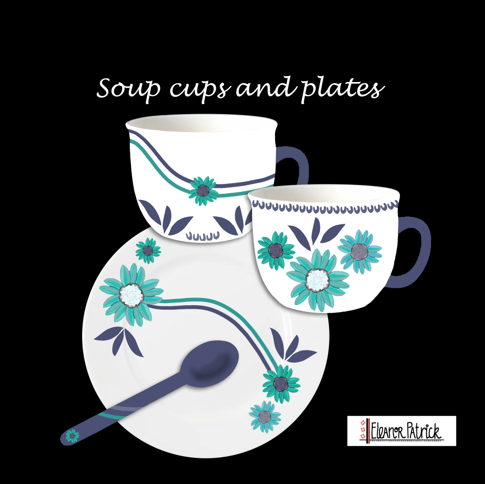 soup cups and plate set