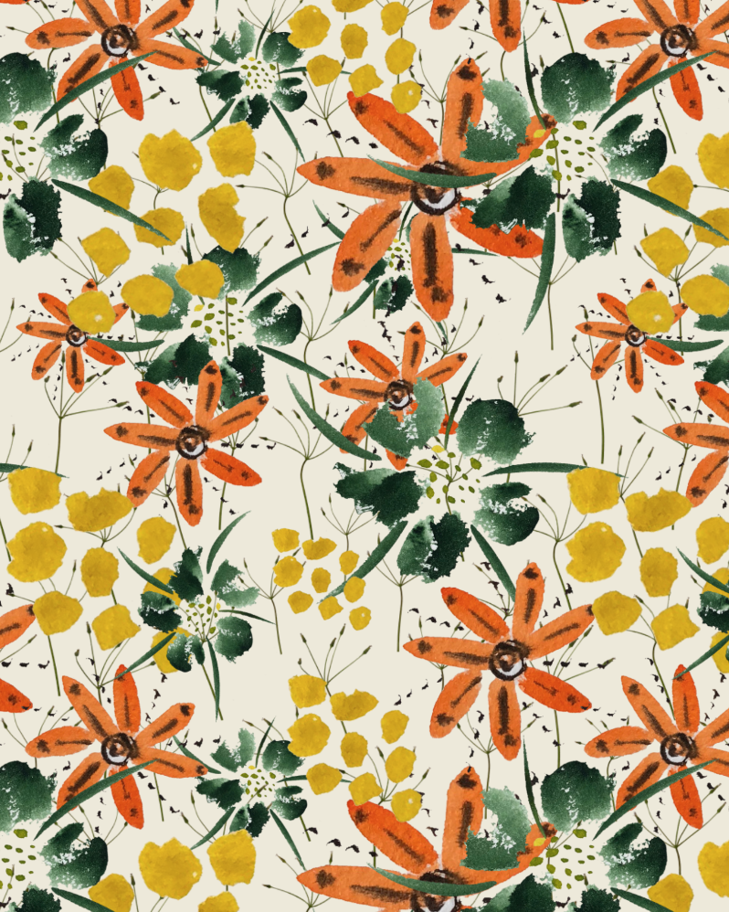 wc flowers bolt fabric tiled