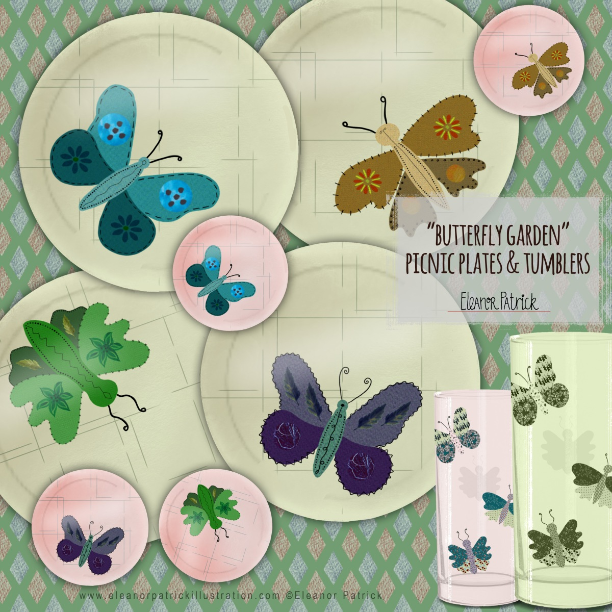 Butterfly Plates Tumblers new