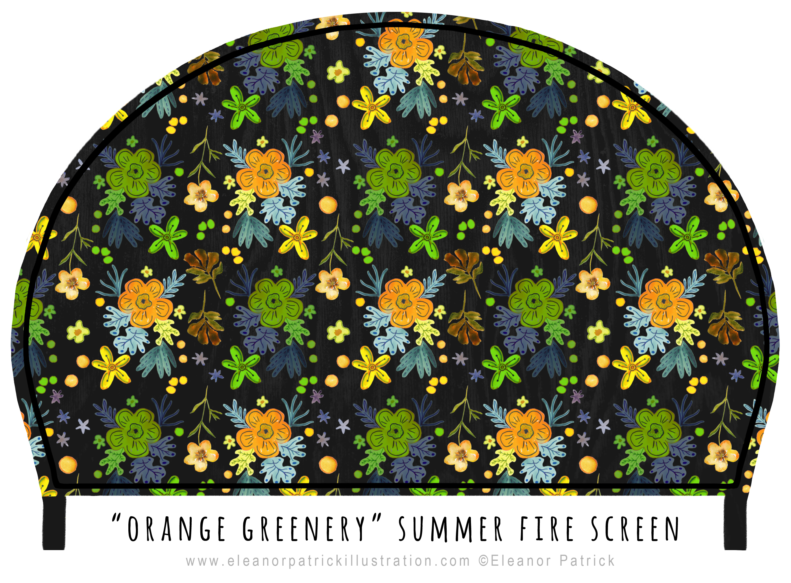 fire screen orange greenery