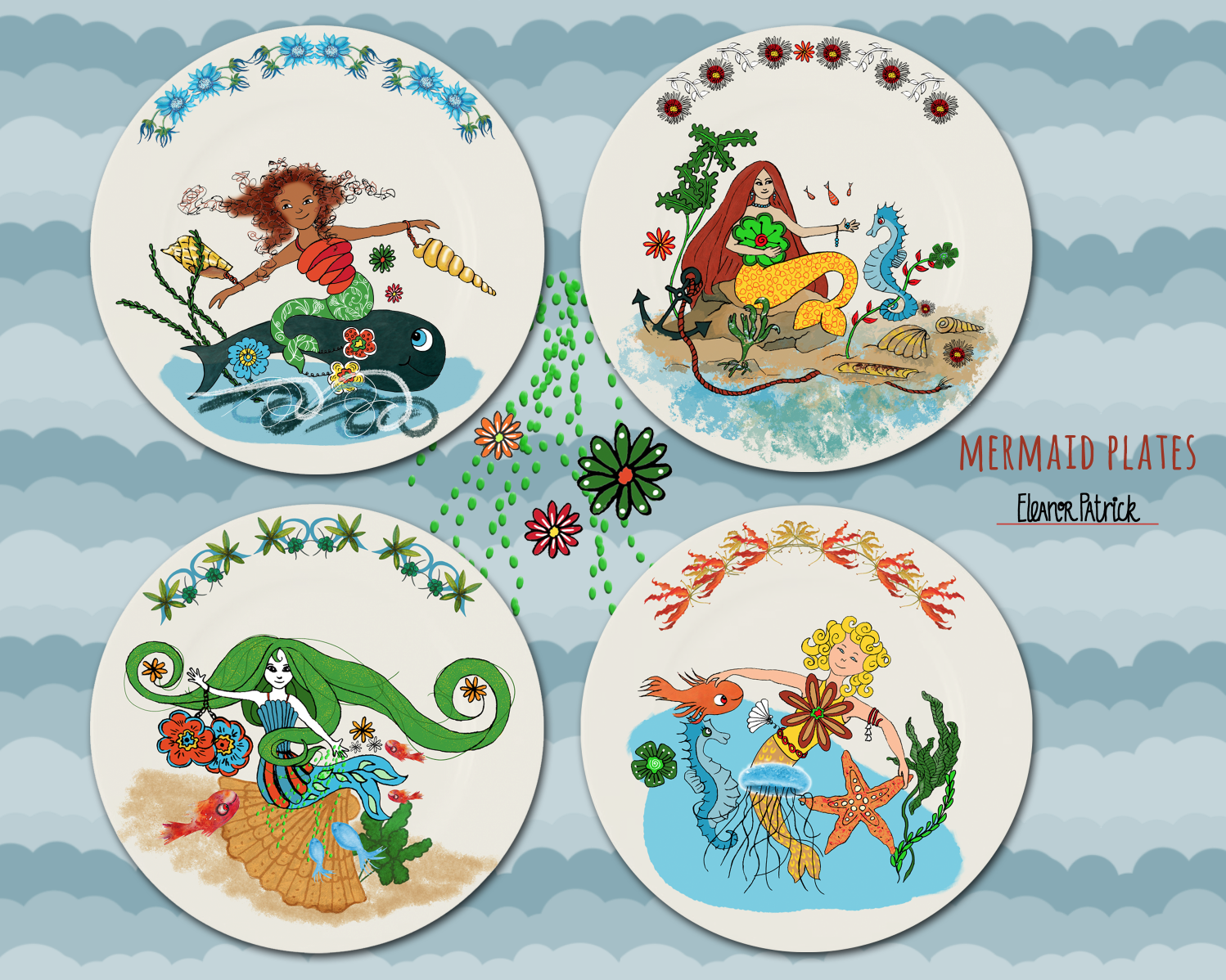 Mermaid ceramic plates