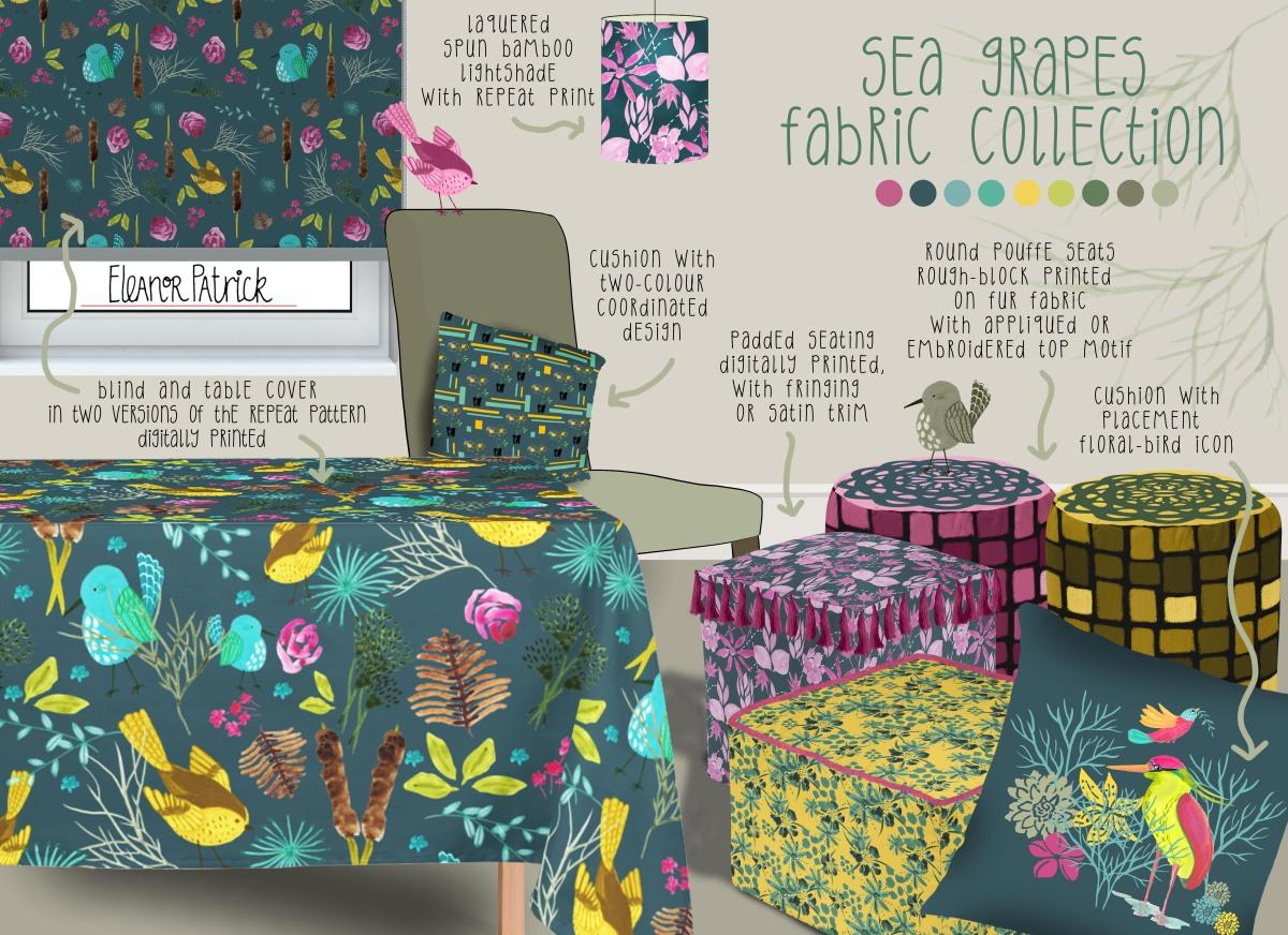 sea grapes fabric layout flattened